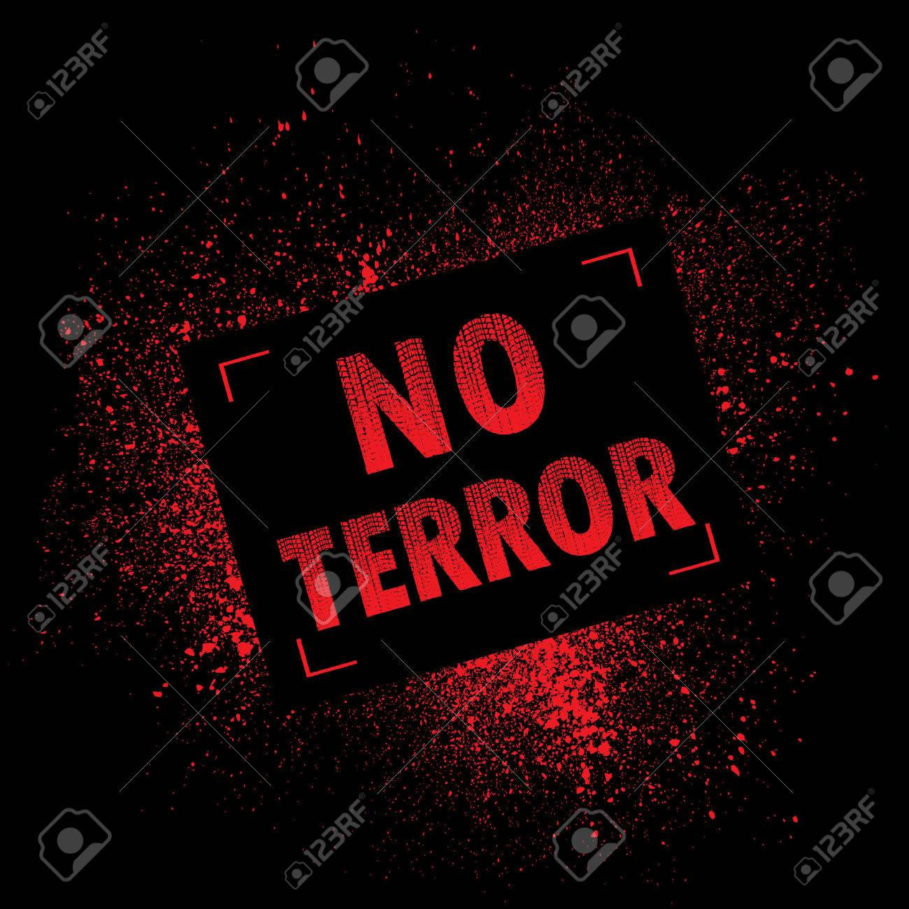 Black background with red ink splash and NO TERROR text - 62375806