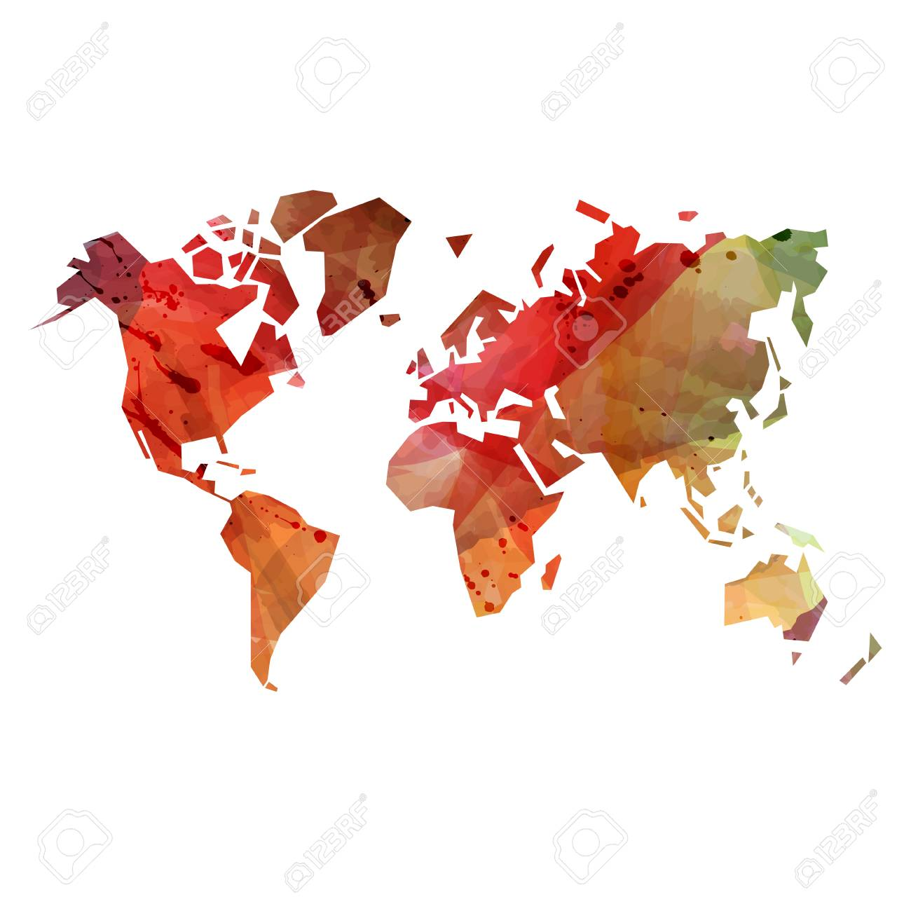 Abstract Colorful Watercolor Background With World Map Silhouette ...