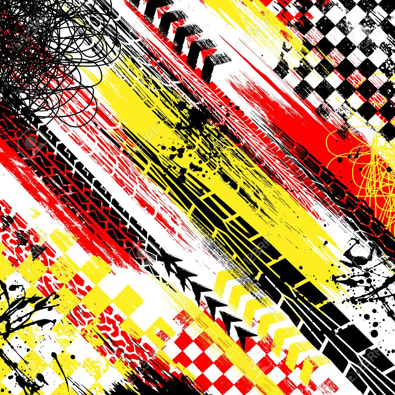Abstract Background With Red Yellow And Black Grunge Splashes