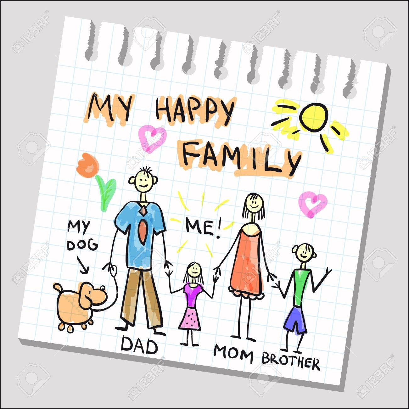 Happy Family Childish Drawing On Notepad Sheet. Vector Kids ...