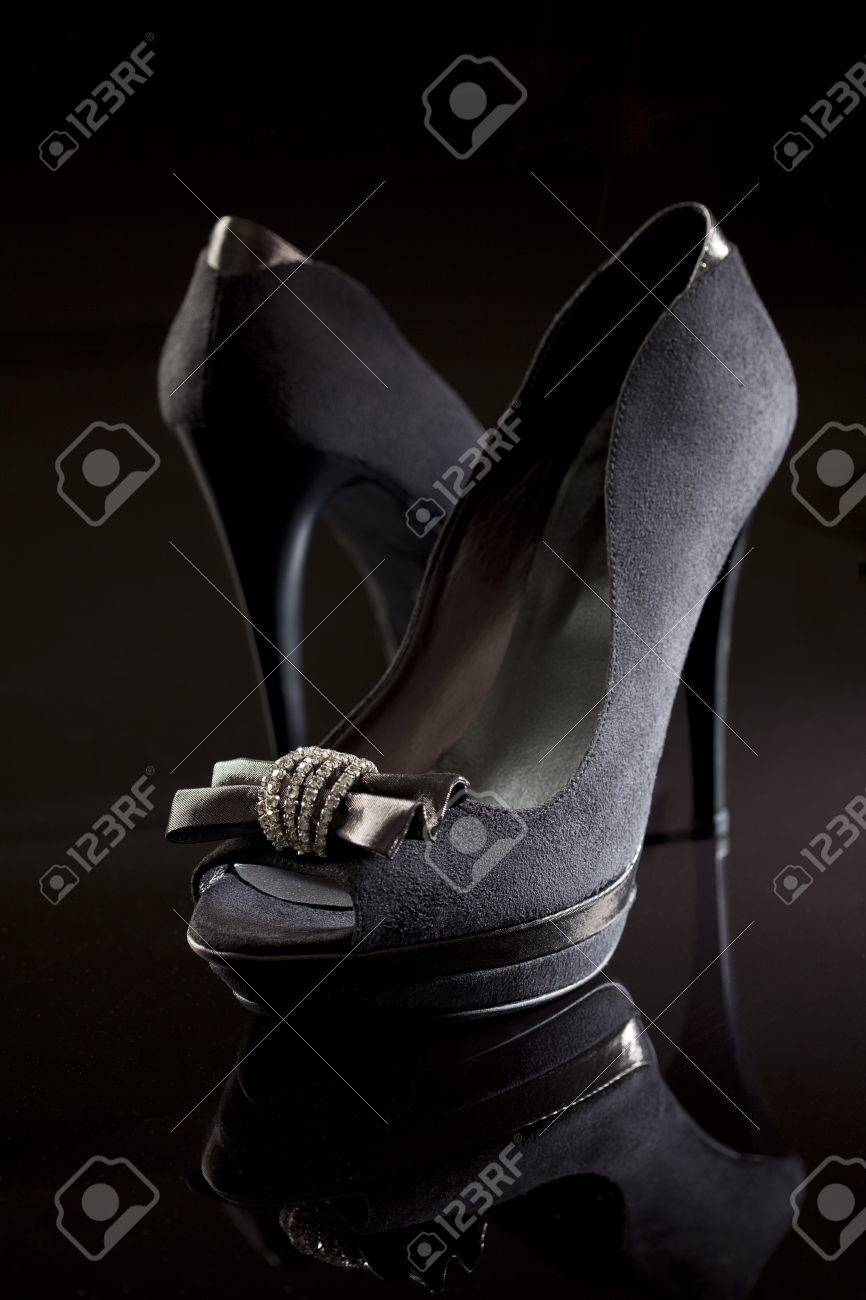 still life of black elegant high heels Stock Photo - 13797170