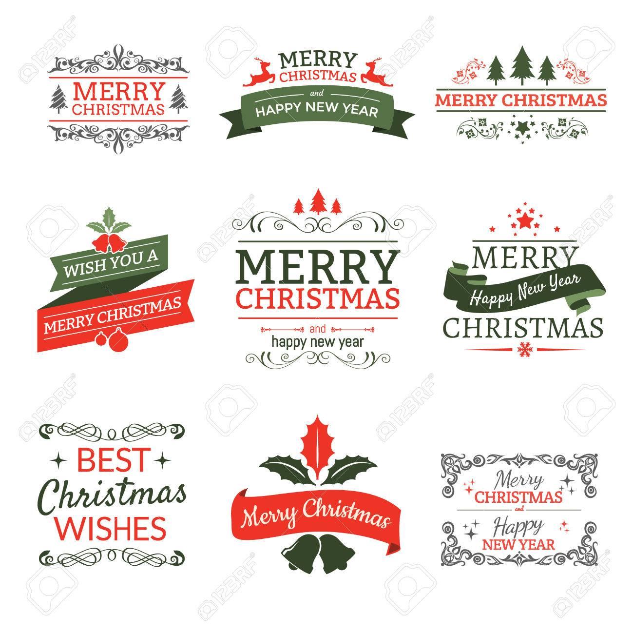 Elementos Tipogrficos Navidad Etiquetas Y Cintas Adornos De poca