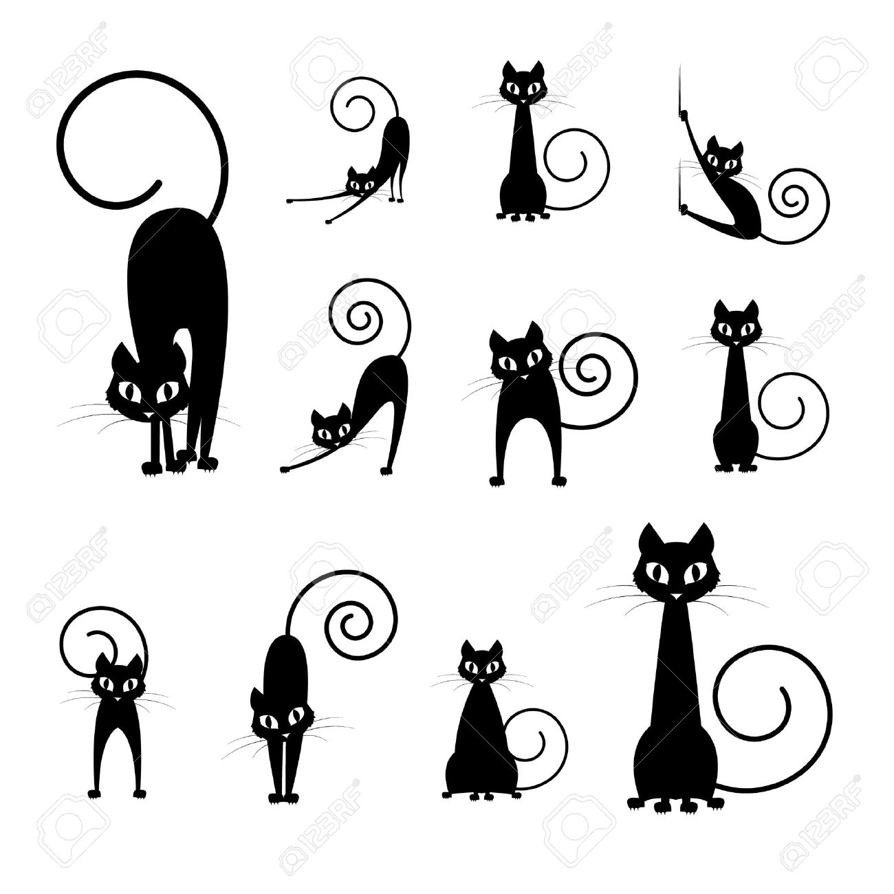 Black Cat Silhouette Collections, Cartoon Cat Black And White ...