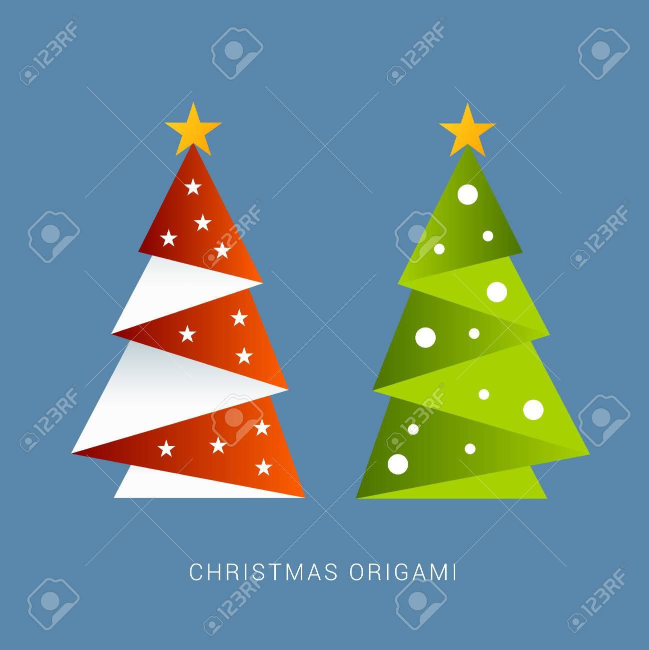 Weihnachtskarten Origami.Stock Photo