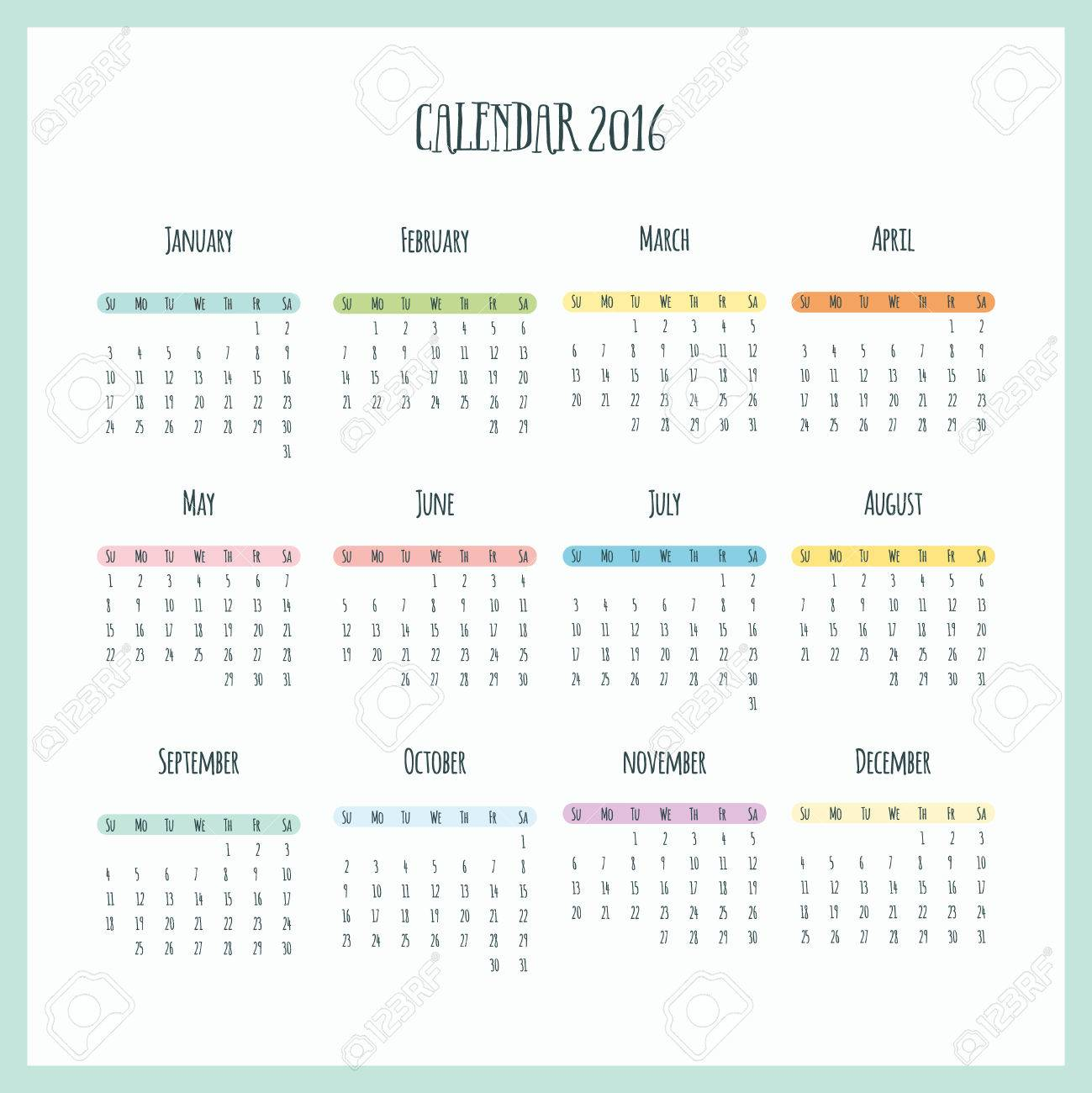Office Calendar 2016 : Calendar colorful modern design for home and office royalty
