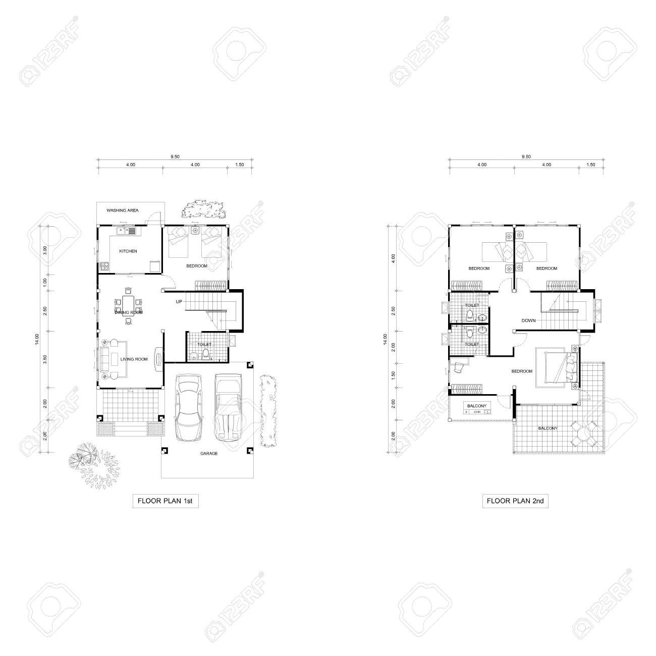 architecture design house drawing. Architecture Plan Drawing Design House, Plans Downstairs And Upstairs. Stock Photo - 50419756 House S