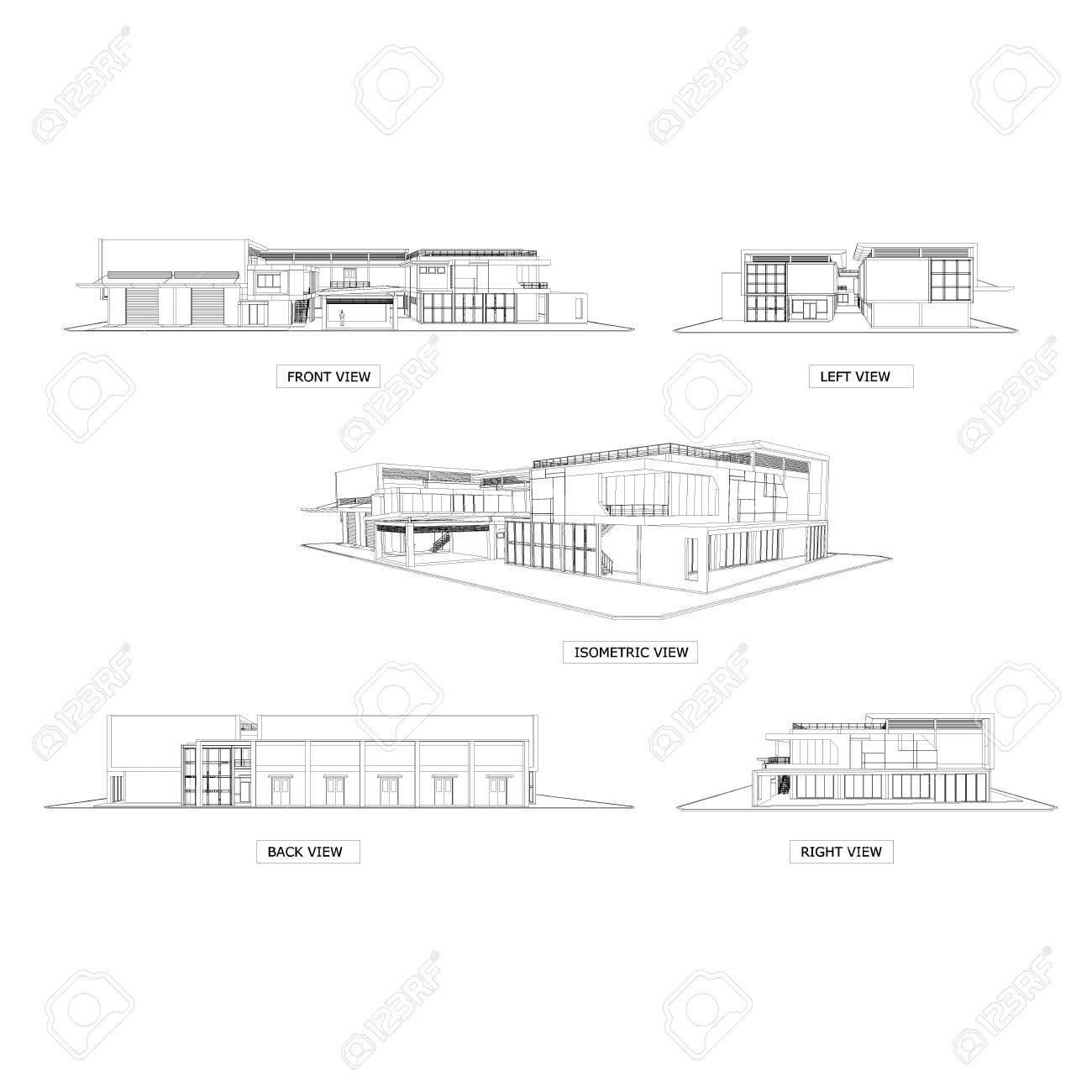 3D Skizze Zeichnung Des Gebaudes Architektur Elevation Und Isometrie Standard Bild