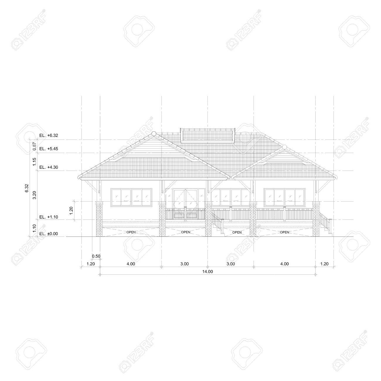 Stock photo thai style home designs drawing front view elevation plan