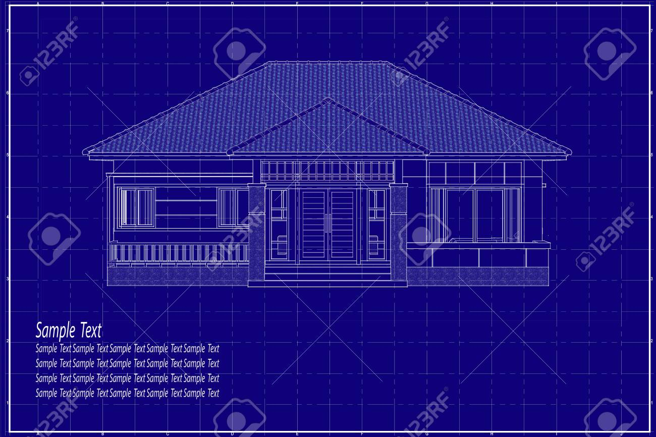 Architectural drawing elevation house on blueprint fotos retratos architectural drawing elevation house on blueprint foto de archivo 94879790 malvernweather Images