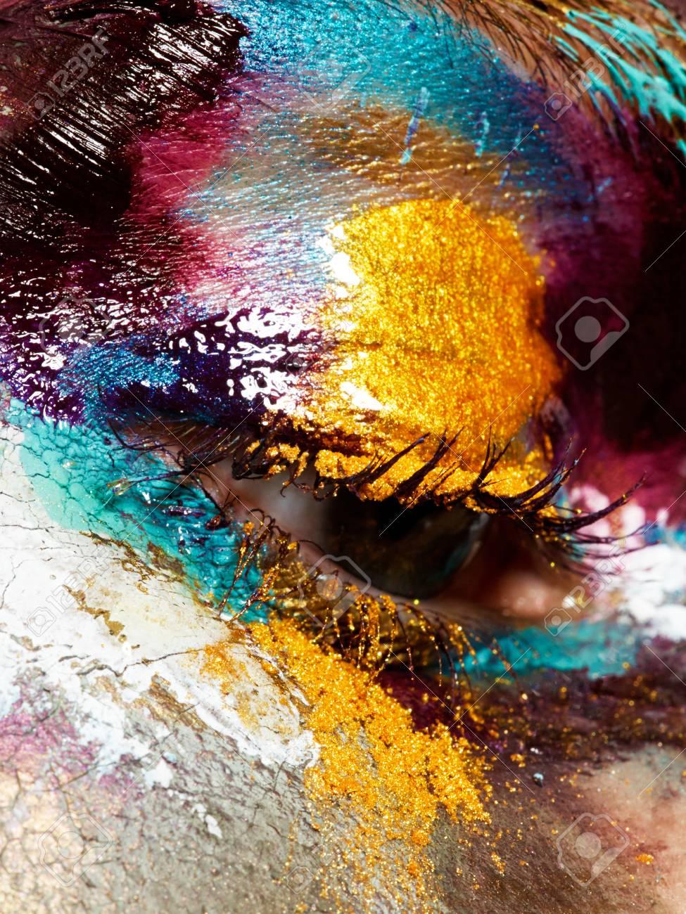 Beauty Concept Perfect Artistic Creative Makeup Closeup Of