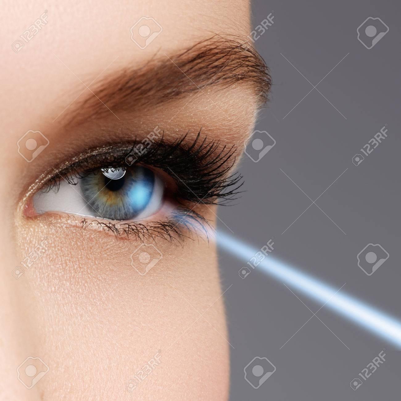 Laser vision correction. Woman's eye. Human eye. Woman eye with laser correction. Eyesight concept - 78135513