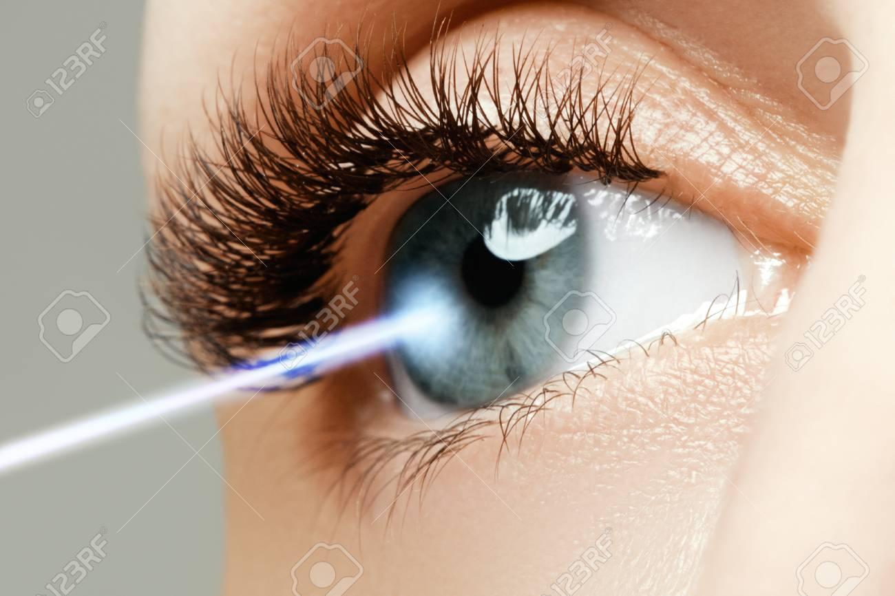 Laser vision correction. Woman's eye. Human eye. Woman eye with laser correction. Eyesight concept. Future technology, medicine and vision concept - 78058478