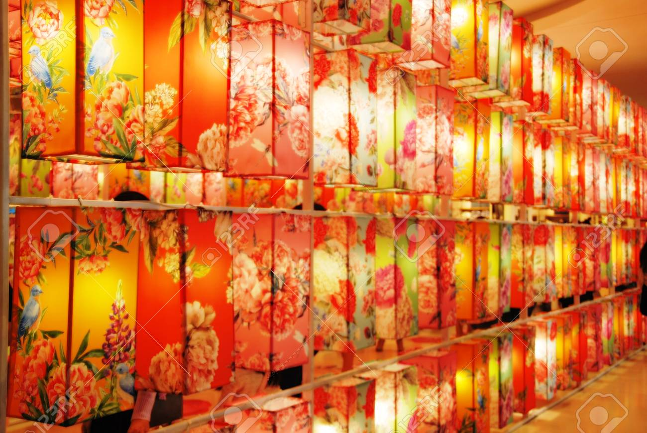The Square Flower Lamp Colorful  Paper lanterns floral print