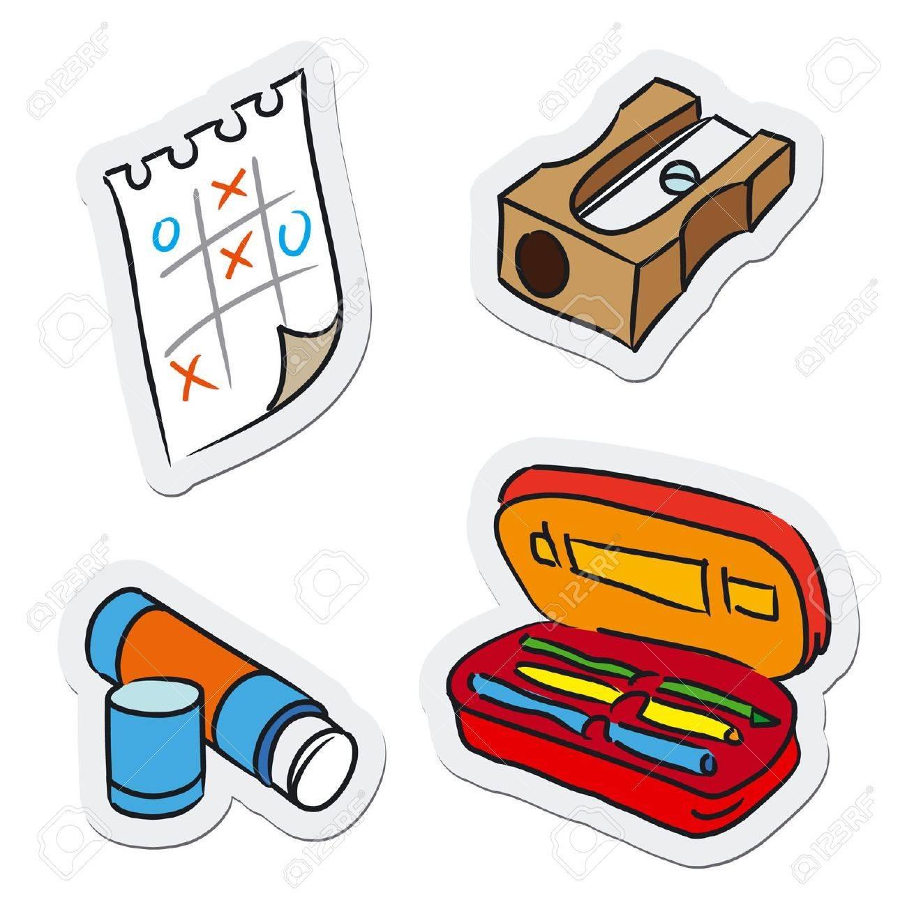 oggetti scuola ed educazione illustrazione vettoriale clipart  - oggetti scuola ed educazione illustrazione vettoriale archivio fotografico