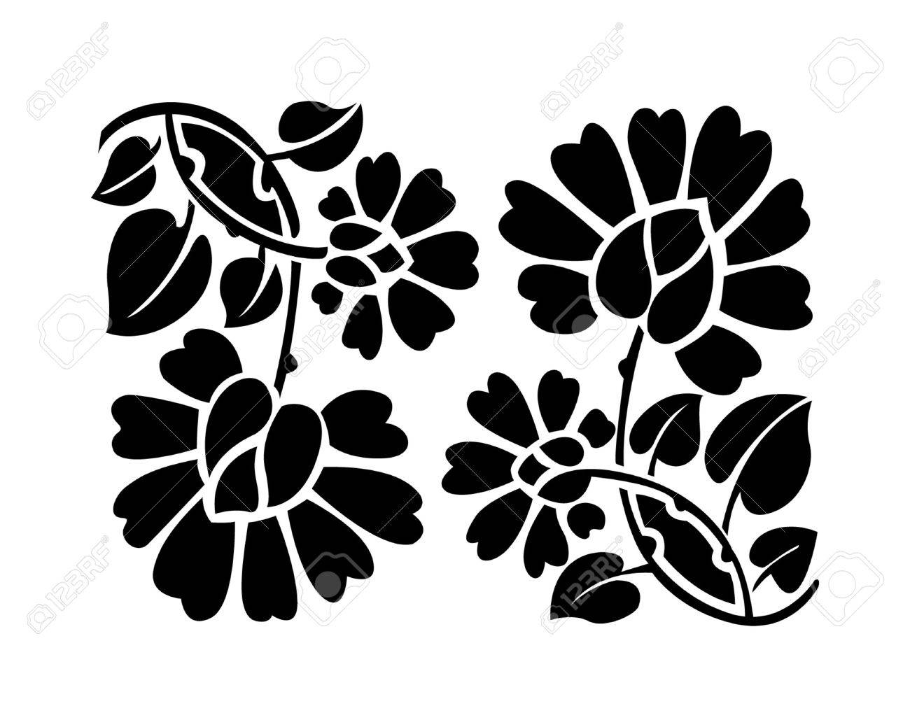 Line Drawing Flower Vector : Black flower pattern vector illustration royalty free cliparts