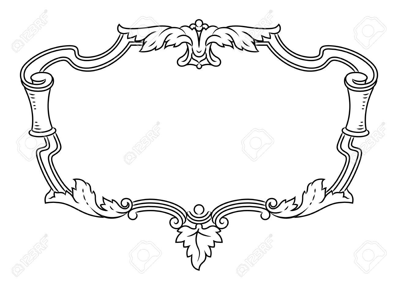 Vector Outline Frame, Elegant Vignette, Design Element And Page ...