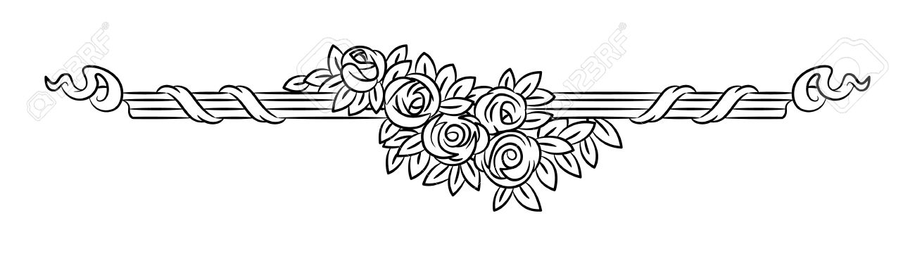 Vintage Vector Vignette With Rose Flowers Outline Elegant Border