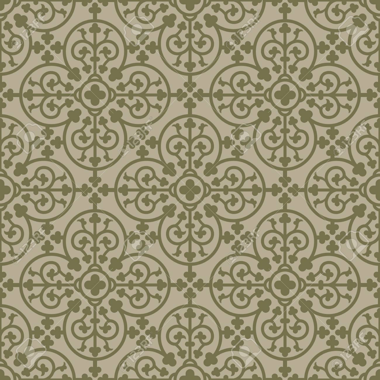 Royal Elements In A Gothic Style Ornament For Tiles And
