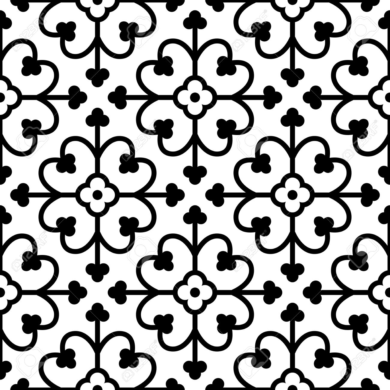 Gothic Seamless Pattern Elements In A Medieval Style Ornament For Tiles And Mosaics