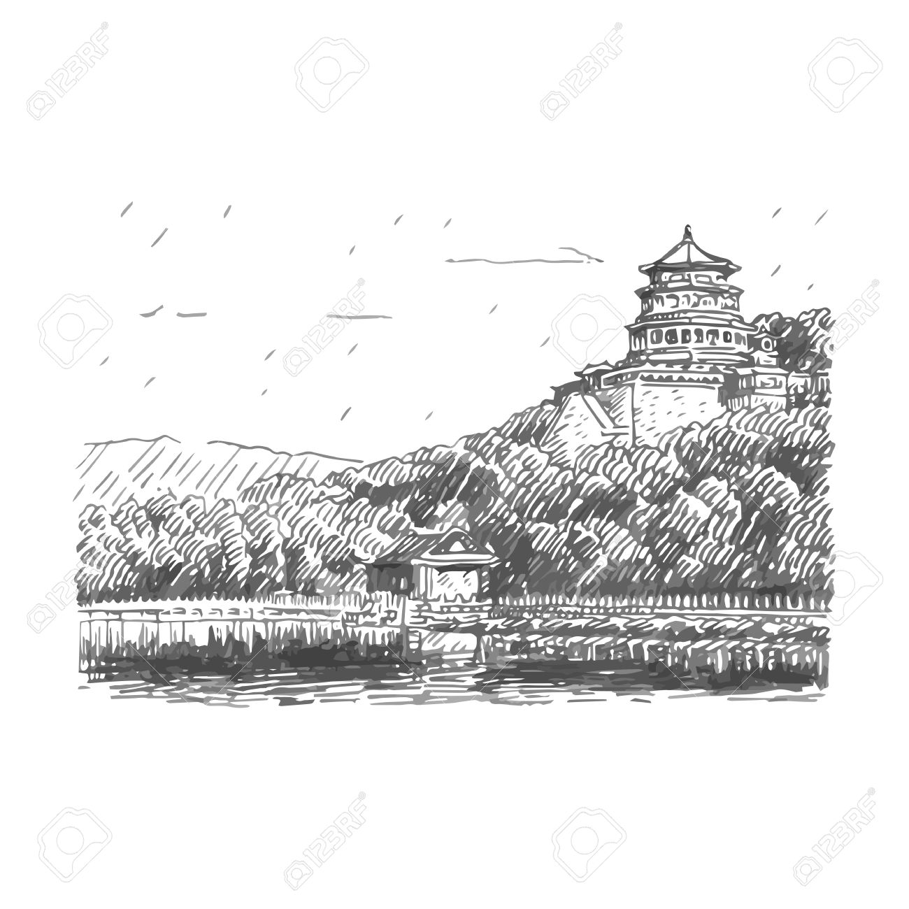 The summer palace scenery beijing china vector freehand pencil sketch stock vector