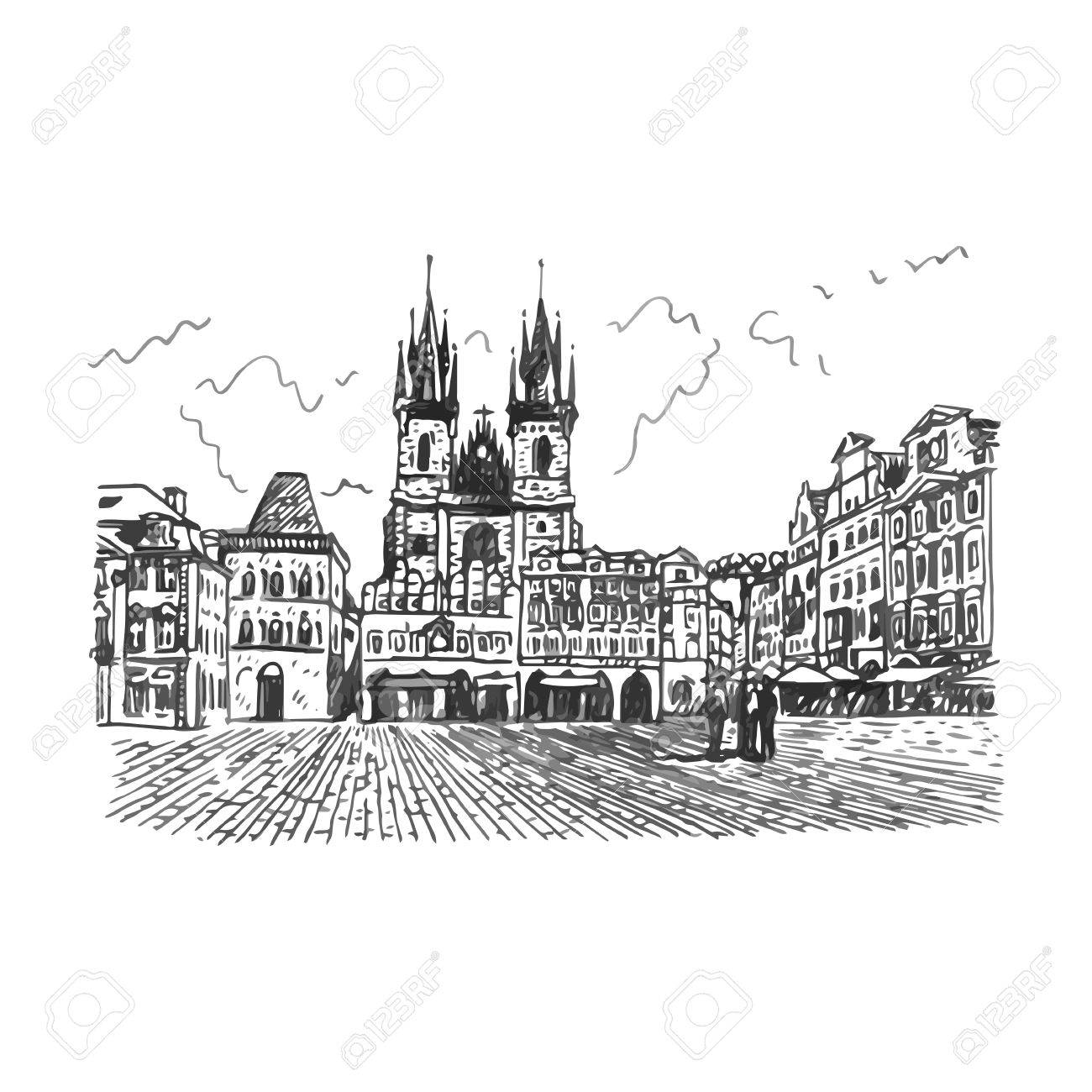 Old Town Square In Prague Czech Republic Vector Hand Drawn
