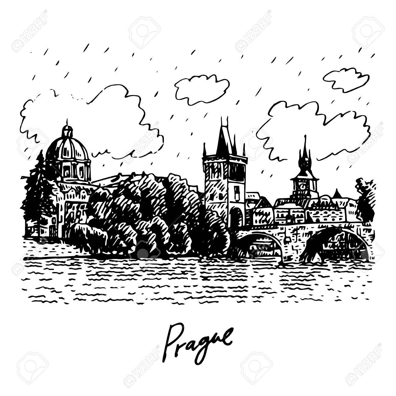 Charles Bridge Prague Czech Republic Vector Hand Drawn Sketch