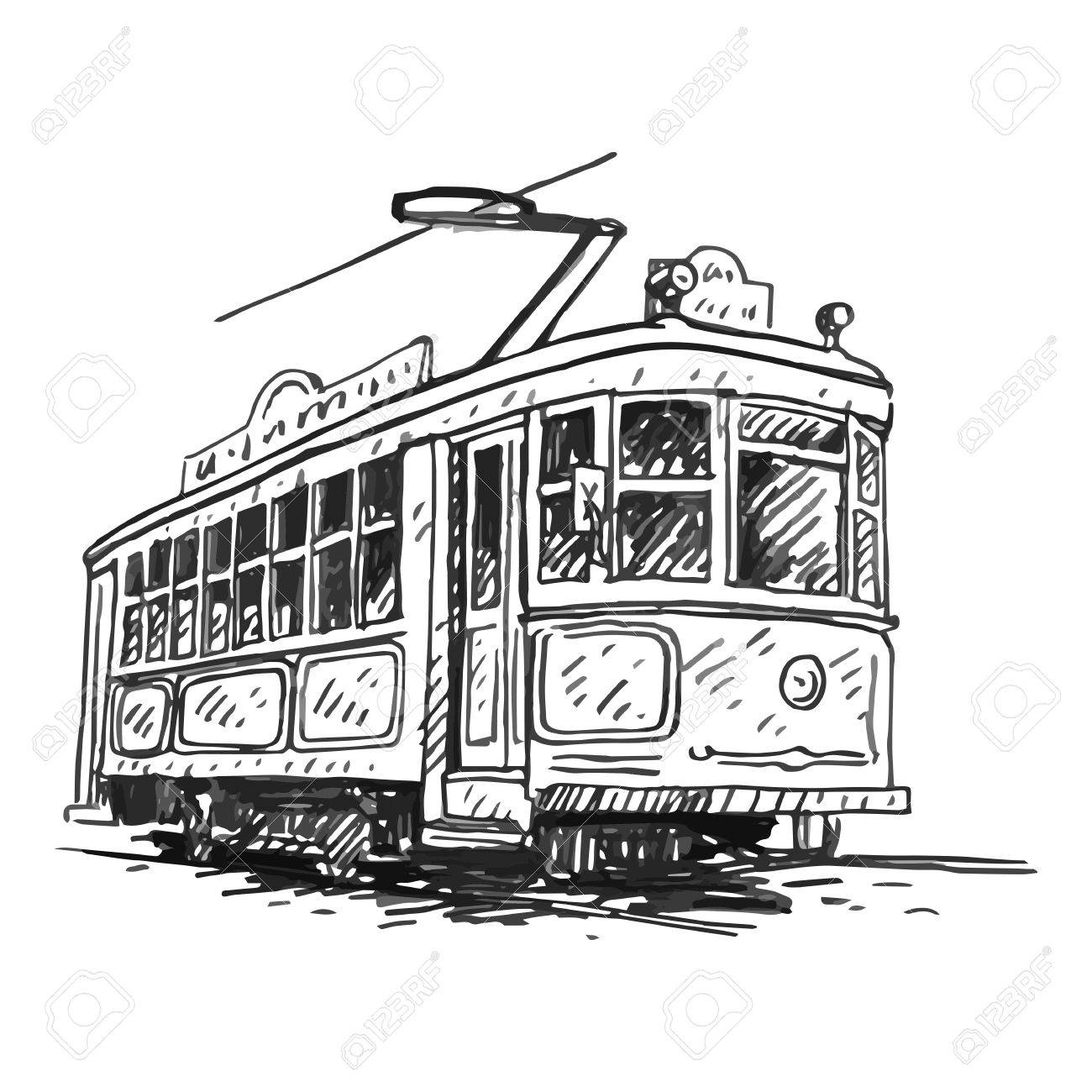 Retro Tram. Picture Of Vintage Transport. Old Times. Vector Hand ...