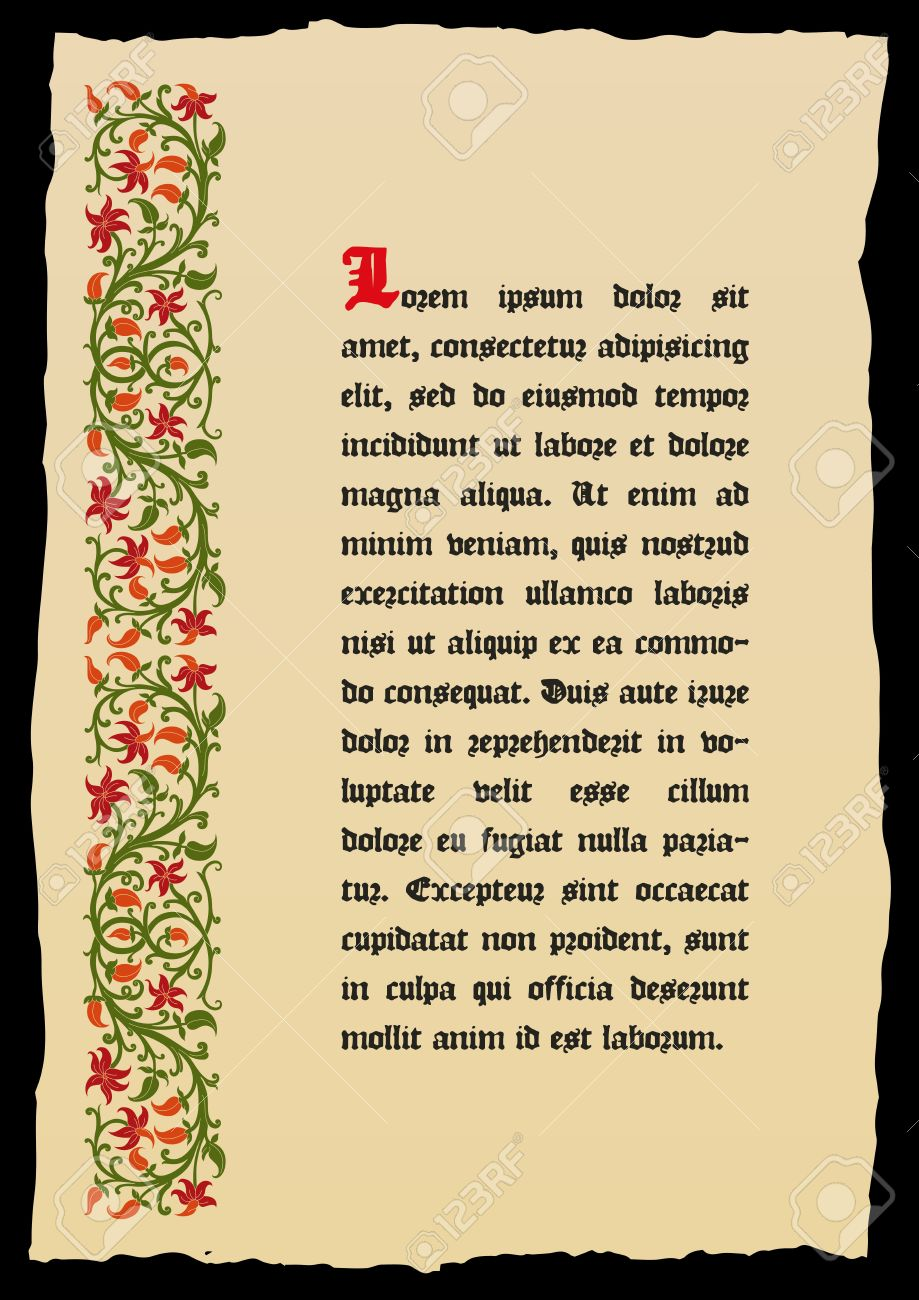 Template book page in a medieval style. Place for text. Floral frame of interwoven stems, foliage and flowers. Vector edging, design element and page decoration. Vector retro background - 52703681