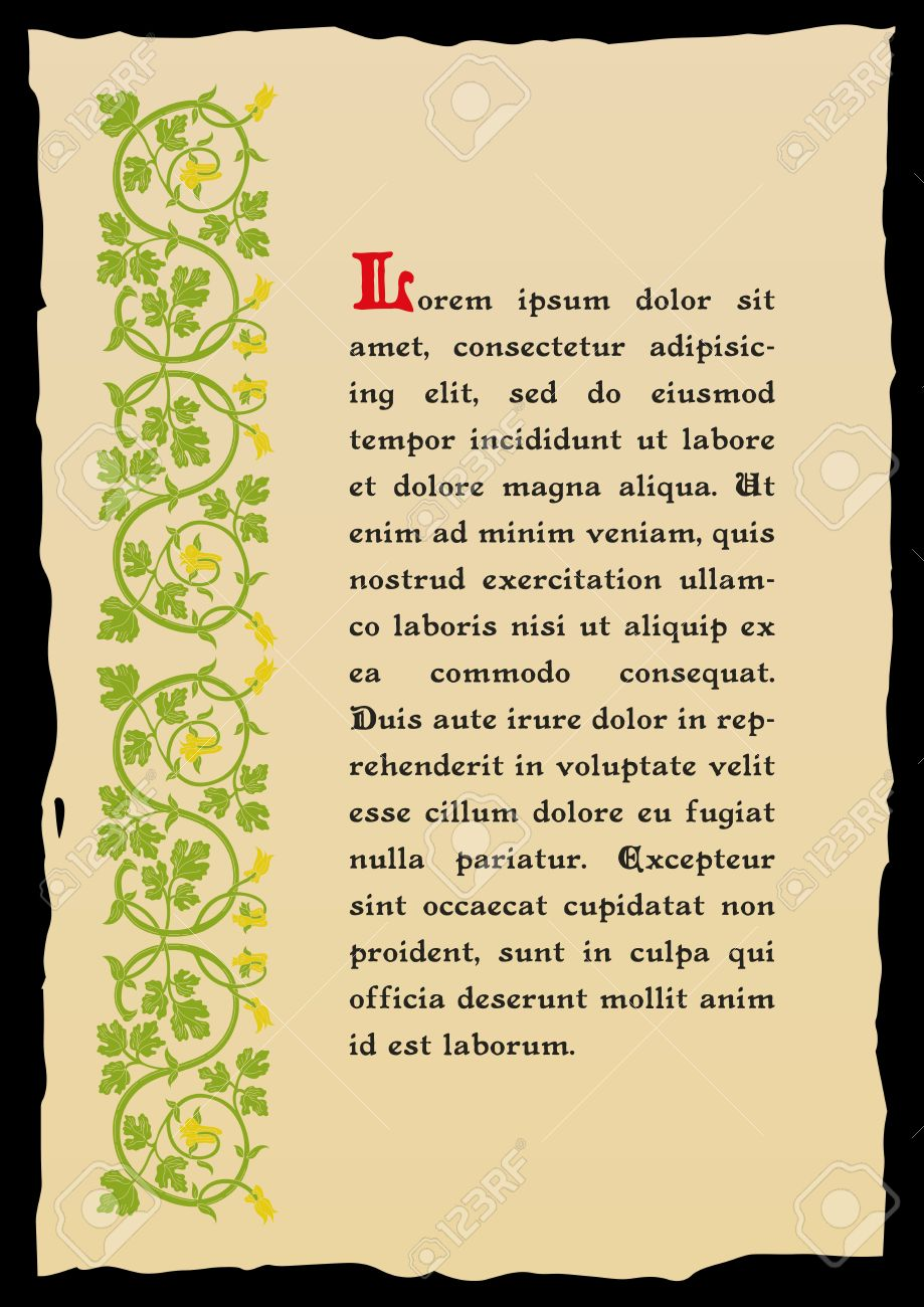 Template Book Page In A Medieval Style Place For Text Floral Frame Of Interwoven