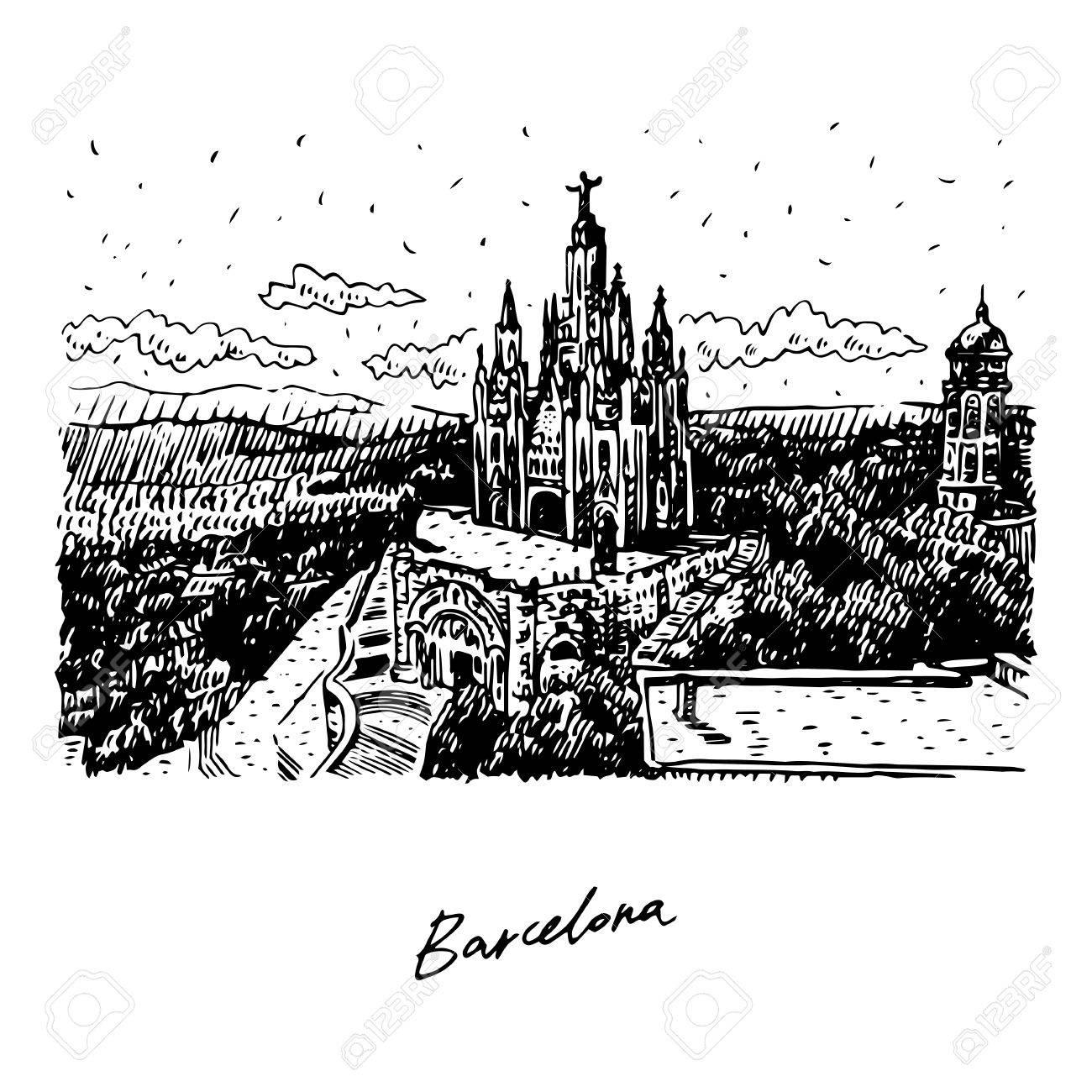 The temple at tibidabo in barcelona catalonia spain drawn