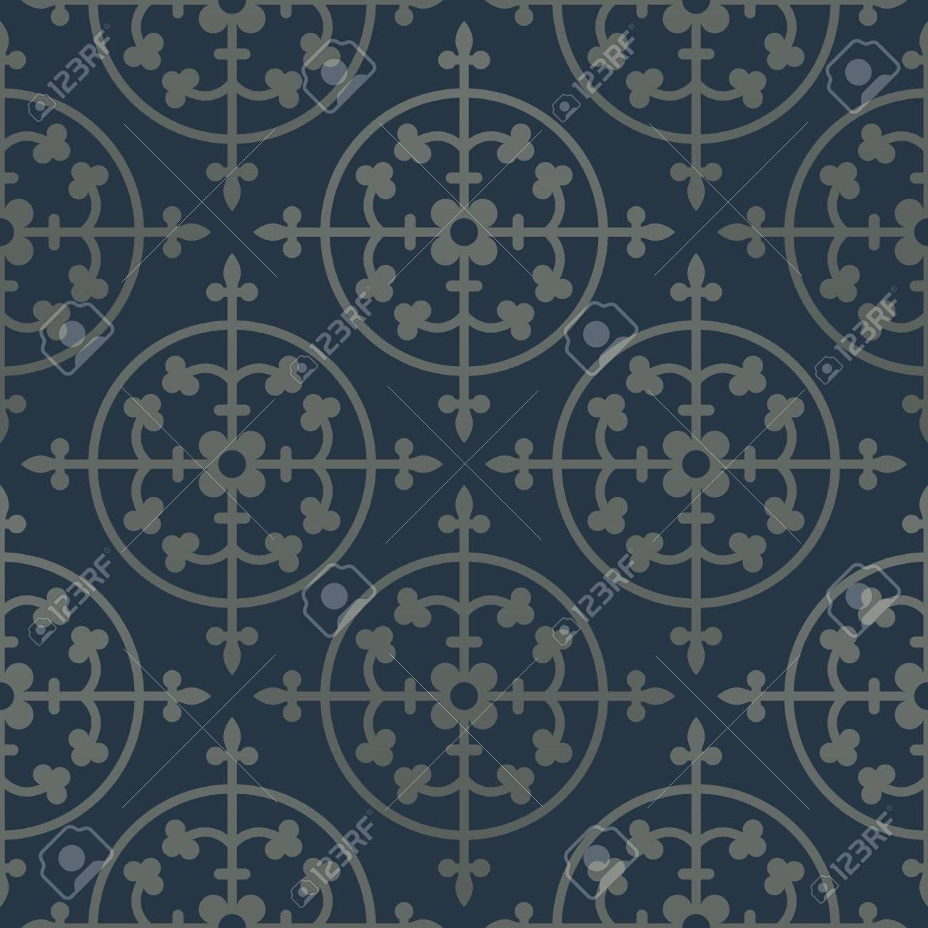 Silver Seamless Pattern On A Dark Blue Background Royal Elements In Gothic Style