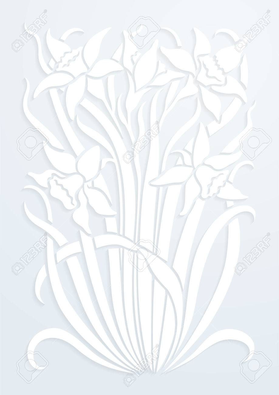 White Paper Floral Ornament Silhouette Of Flowers Figure Bouquet