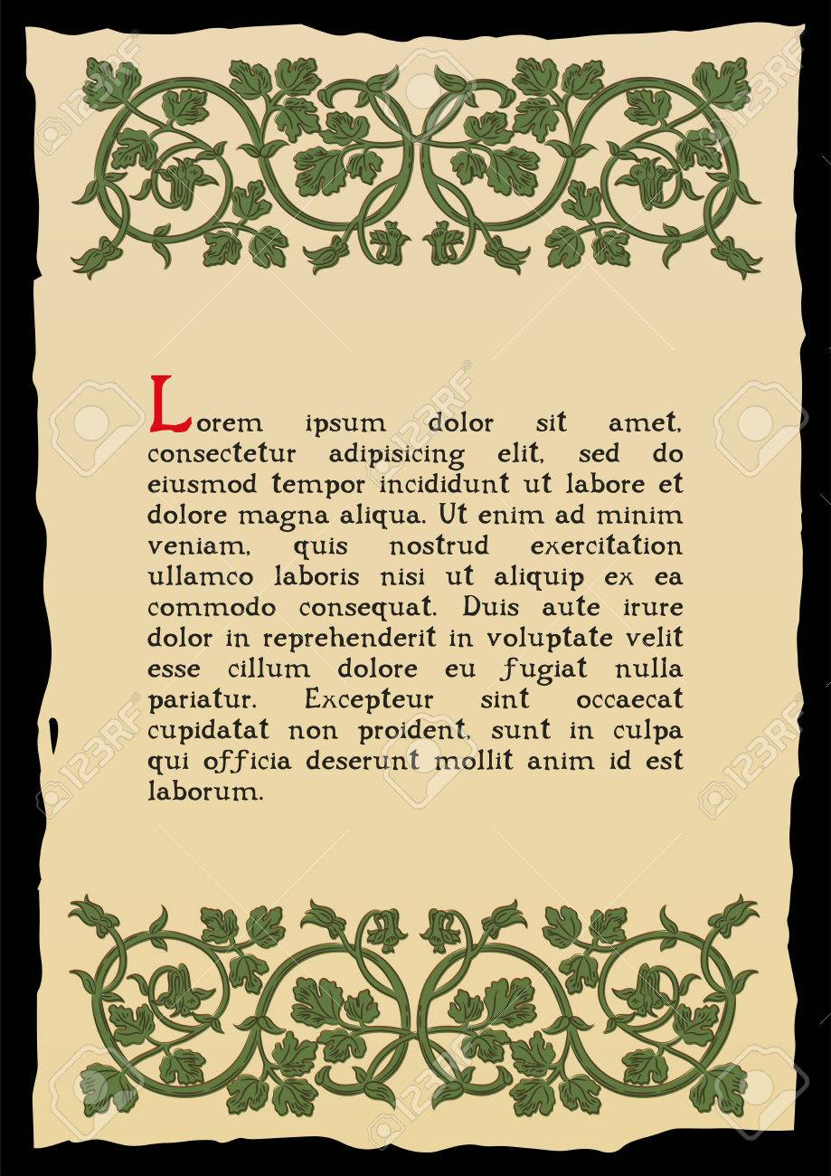 Book page in a medieval style. Place for text. Floral frame of interwoven  stems