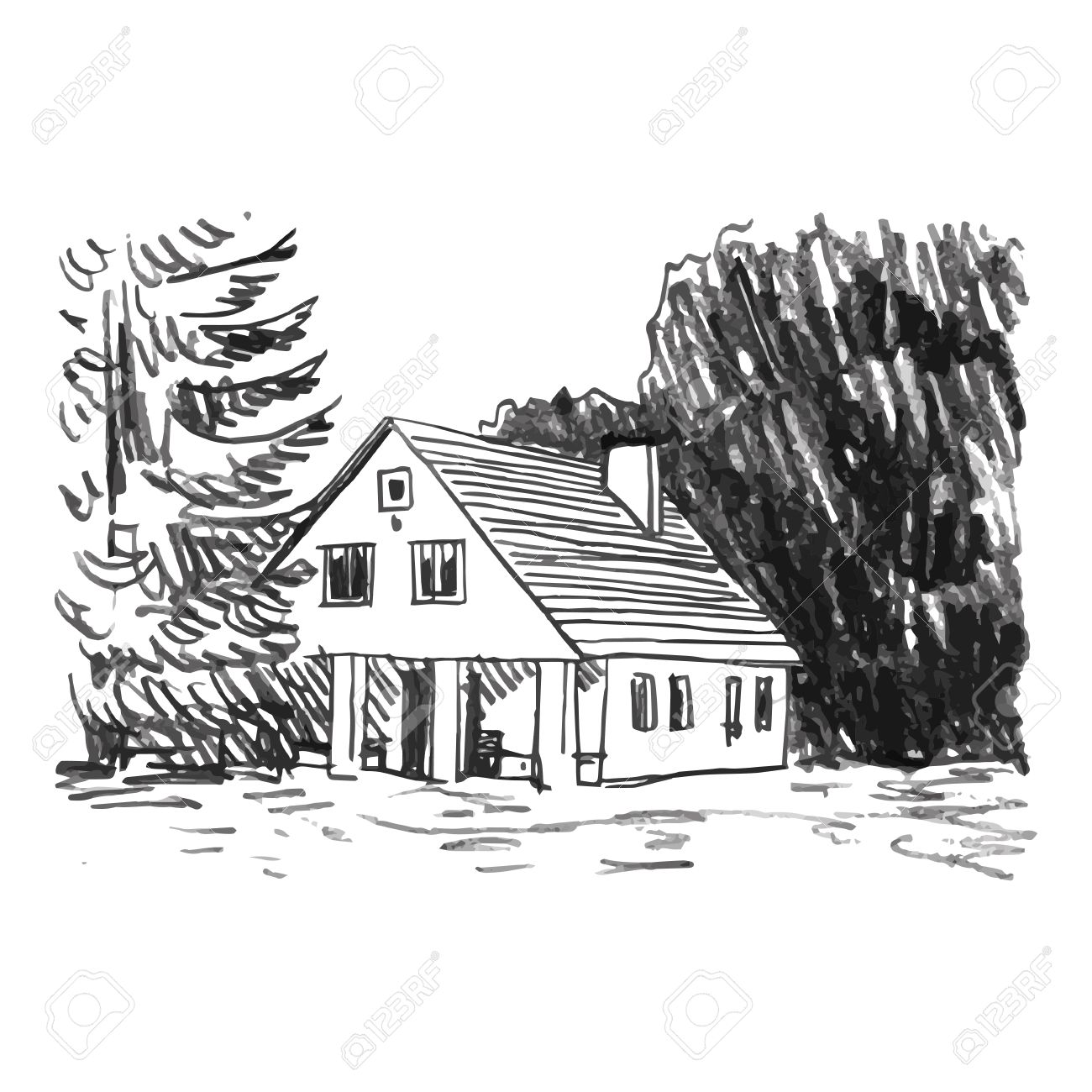 View Of The Country House In The Woods. Vector Freehand Pencil ...