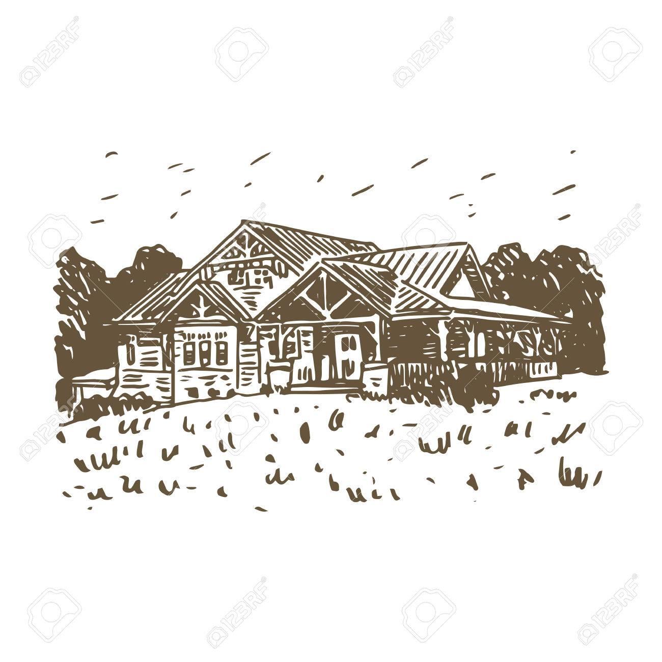 Banque dimages un croquis dune maison de campagne vector dessin au crayon à main levée