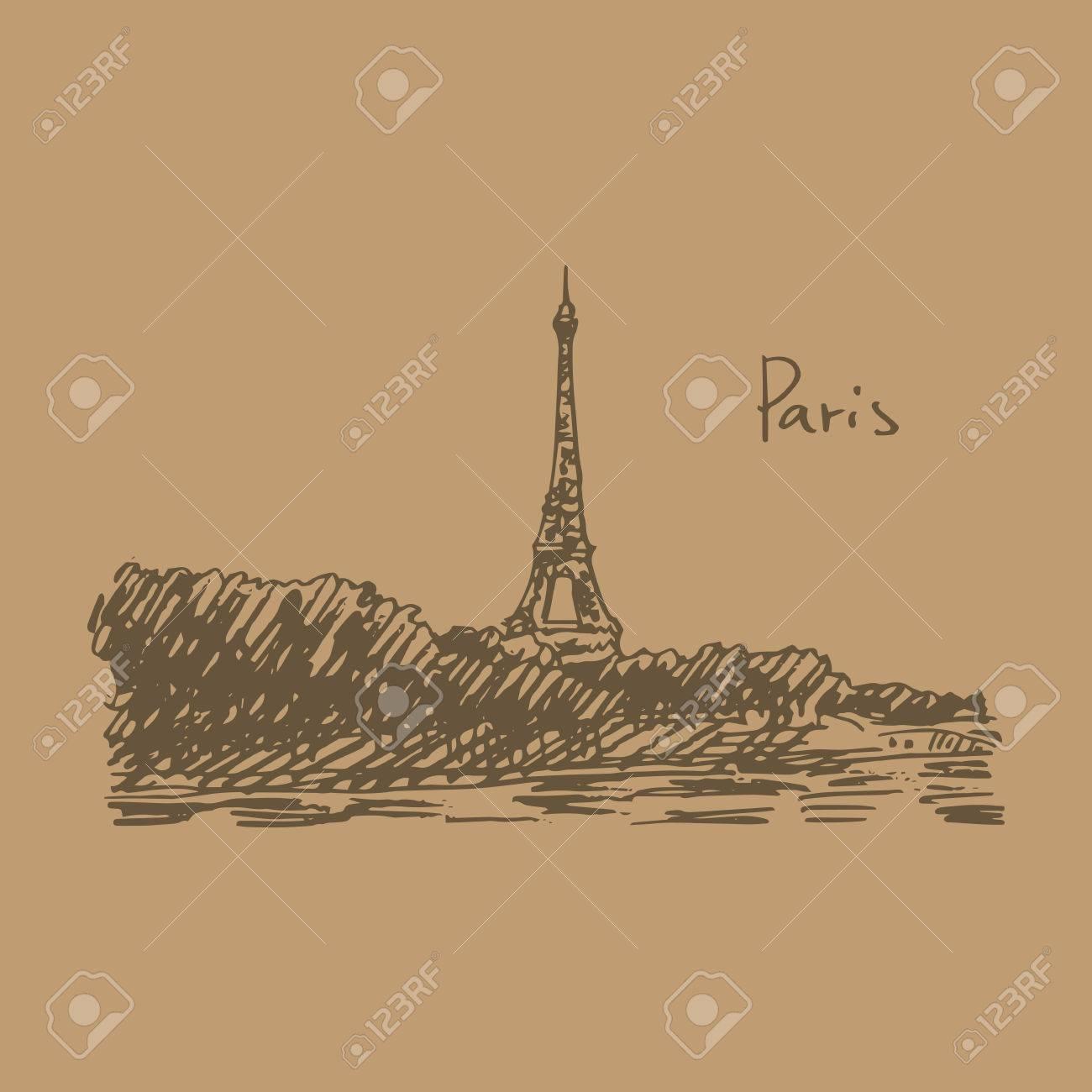 Paris eiffel tower vector quick sketch stock vector 61088738