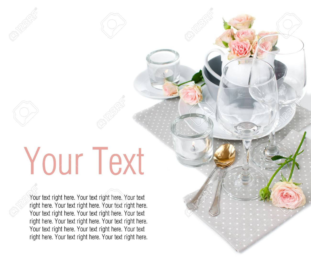 Festive Table Setting Template With Roses And Napkins On A White