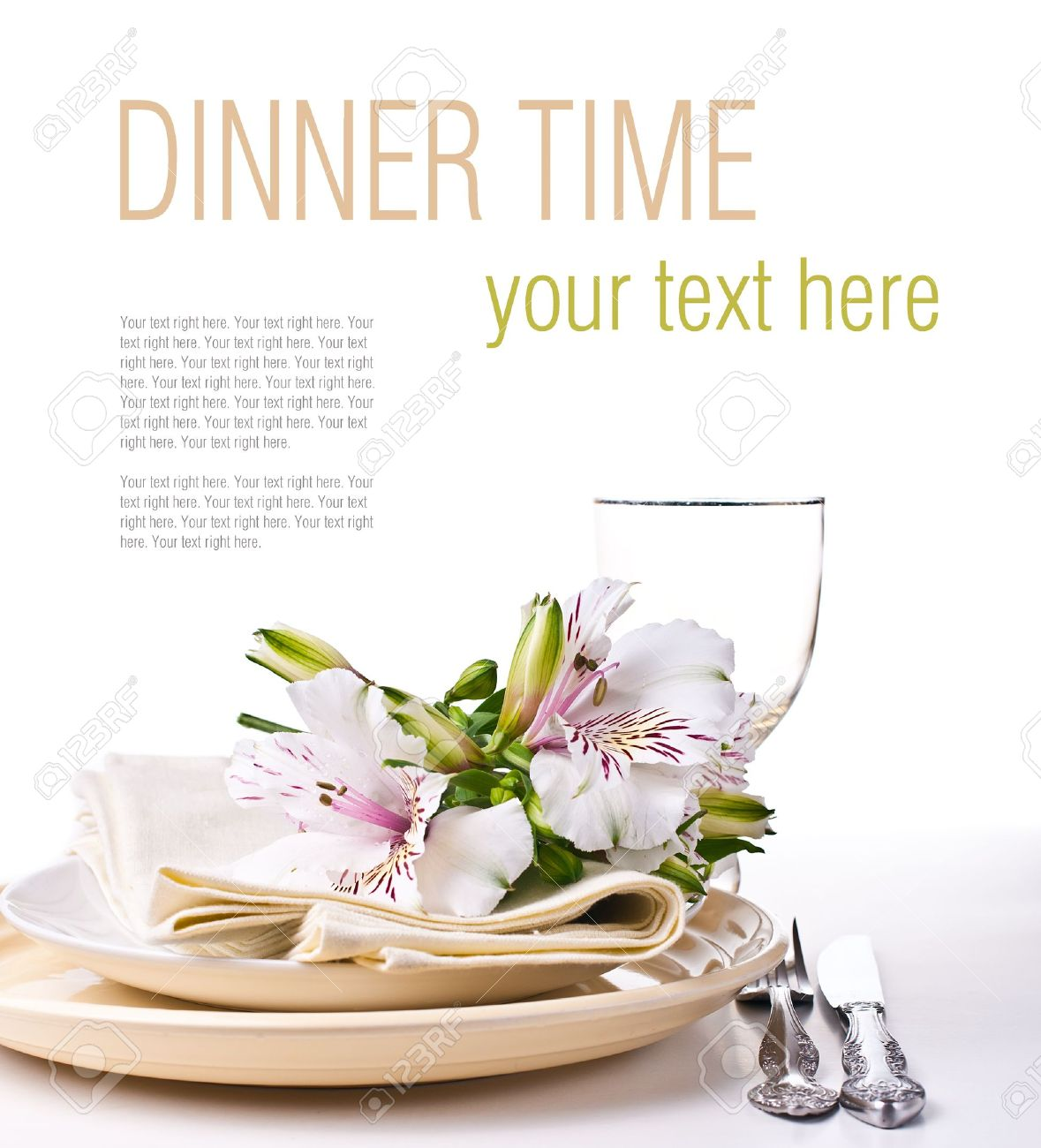 Stock Photo - Table setting with white alstroemeria flowers napkins and yellow plates close-up ready template  sc 1 st  123RF.com & Table Setting With White Alstroemeria Flowers Napkins And Yellow ...