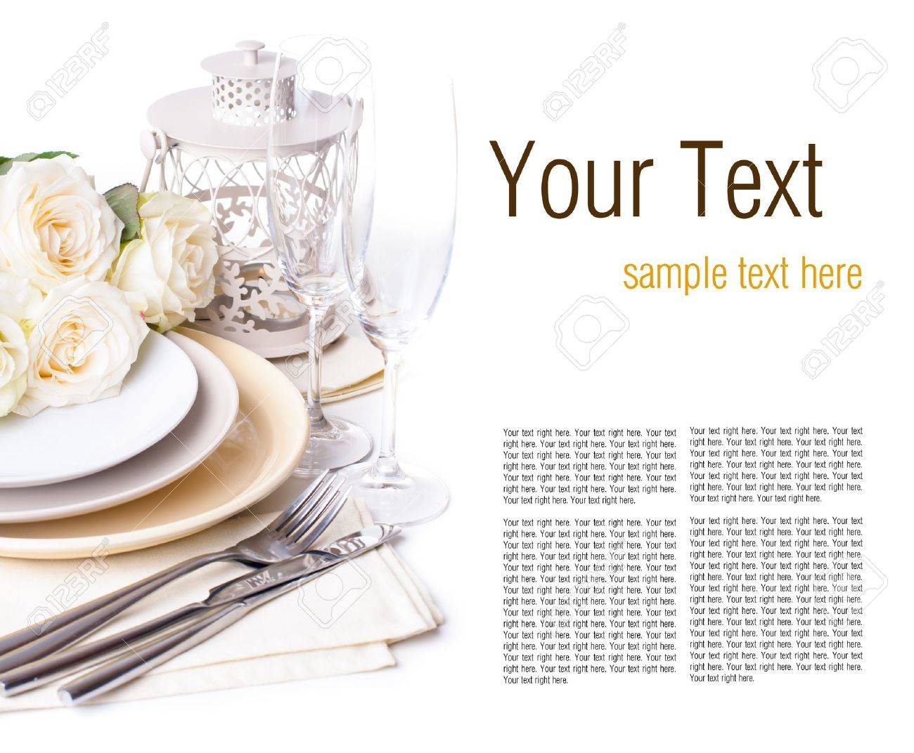 Festive table setting with beige roses wine glasses candles festive table setting with beige roses wine glasses candles napkins and cutlery pronofoot35fo Image collections