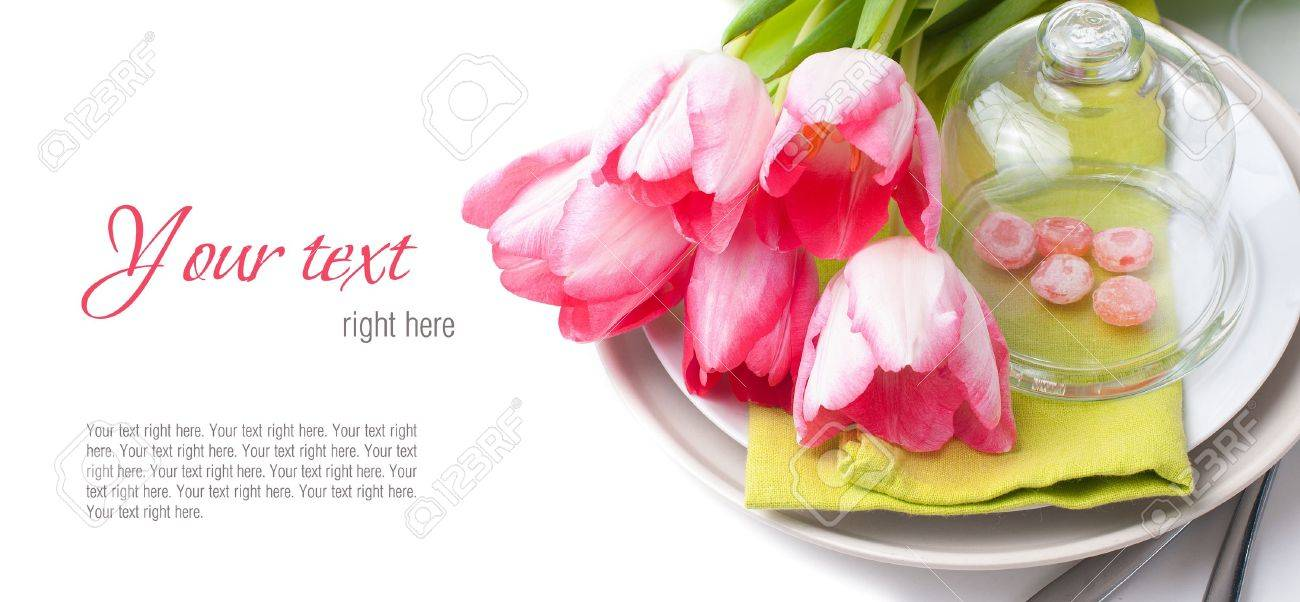 Festive spring table setting with pink tulips napkins in bright festive spring table setting with pink tulips napkins in bright colors ready template pronofoot35fo Image collections