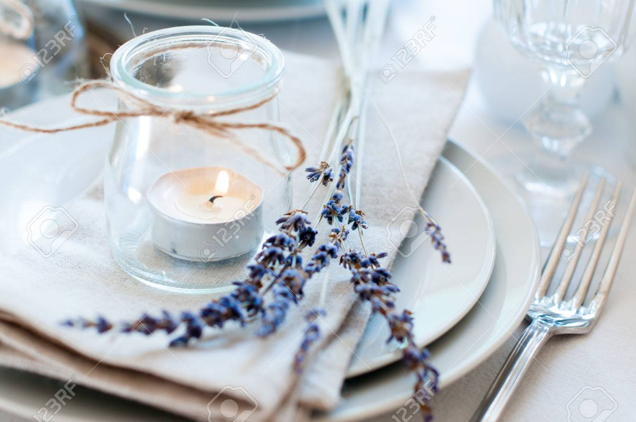 Dining table setting at Provence style with candles lavender vintage crockery and cutlery & Dining Table Setting At Provence Style With Candles Lavender ...