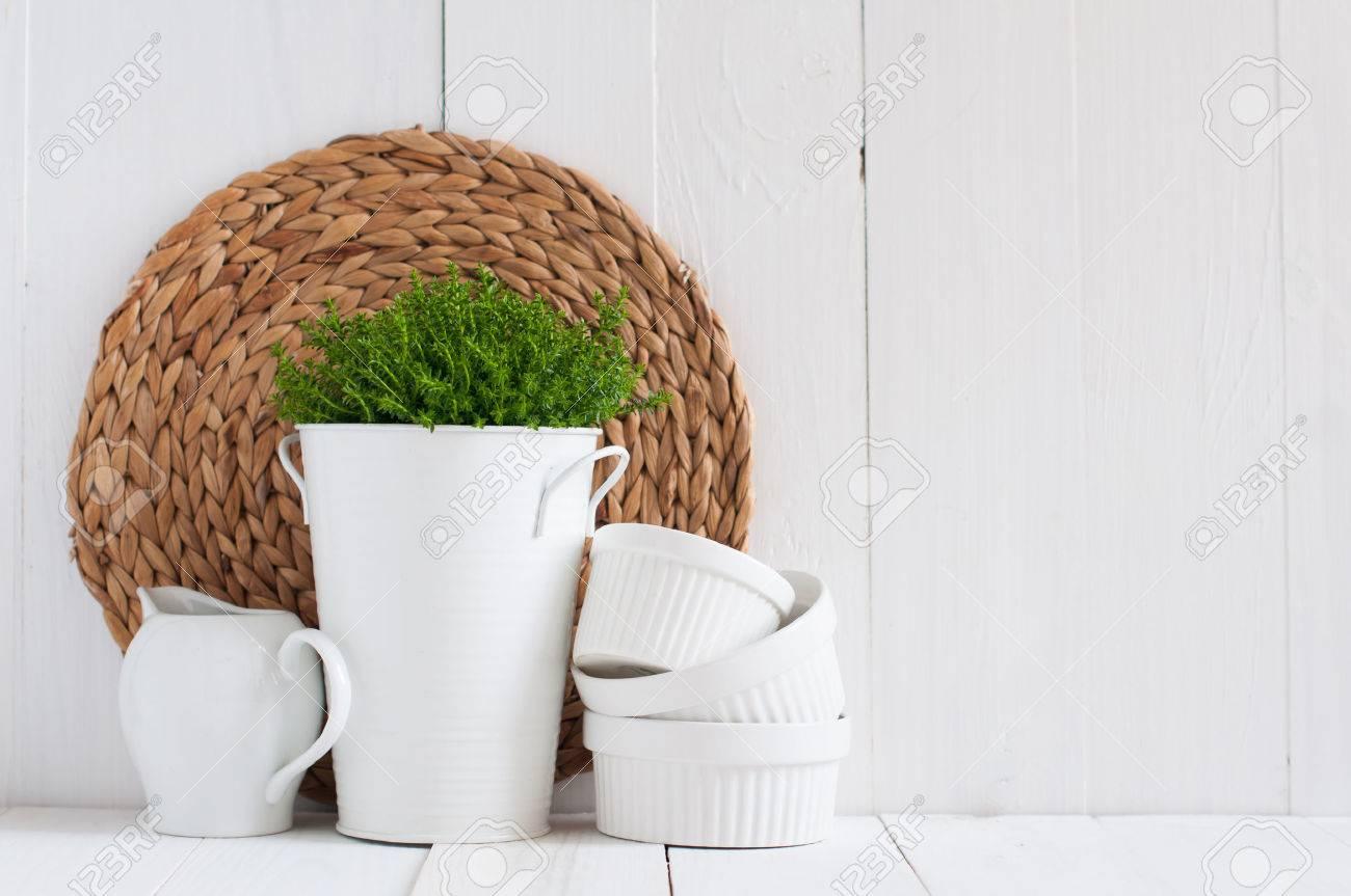 Cottage Leben, Land Küche Dekoration: Eine Zimmerpflanze In Einem ...