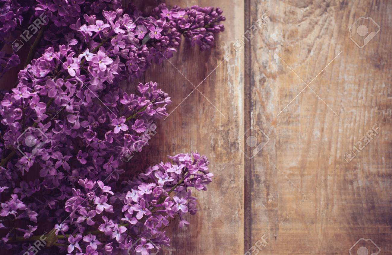 Bouquet Of Lilac Flowers On A Wooden Board Floral Background Rustic Style Decoration Stock