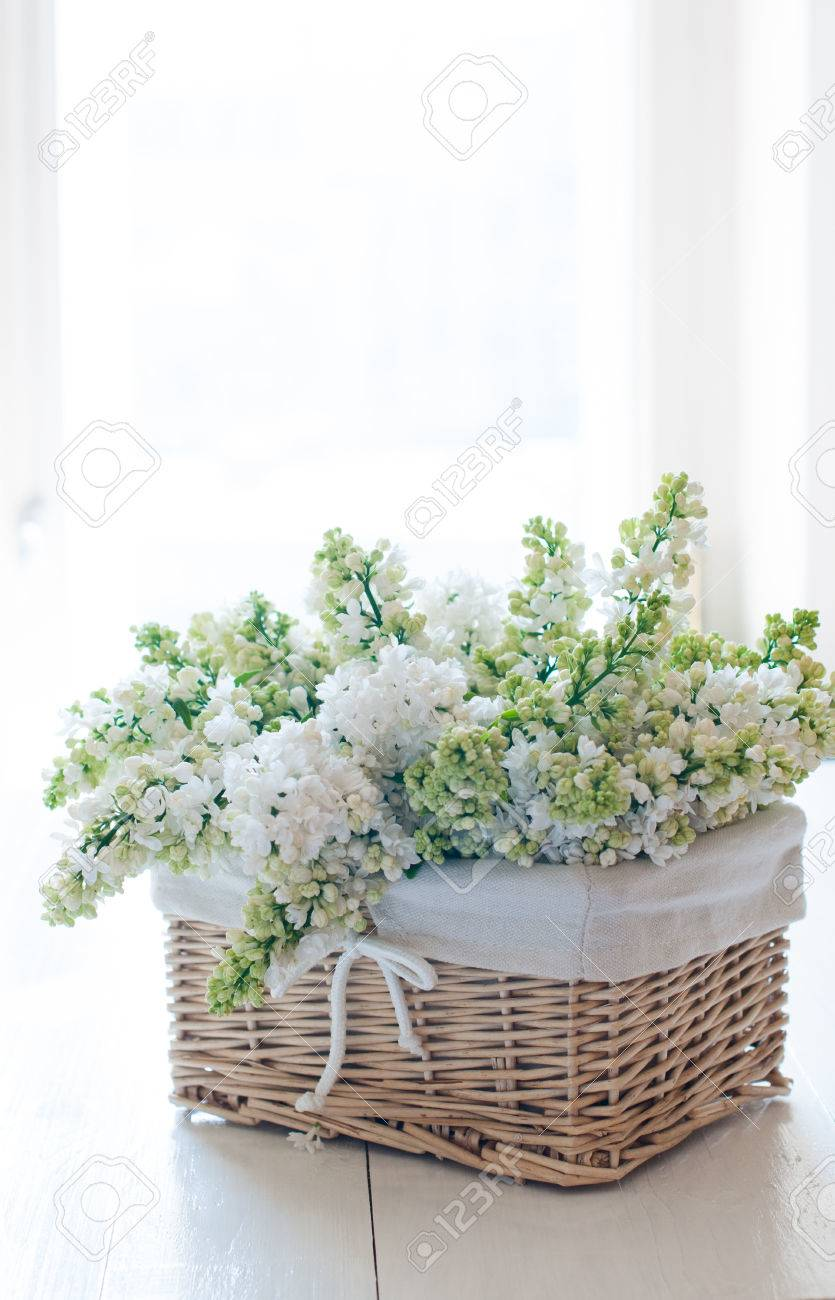 Fresh Spring Bouquet Of White Lilac Flowers In A Wicker Basket Shabby Chic Home Decor