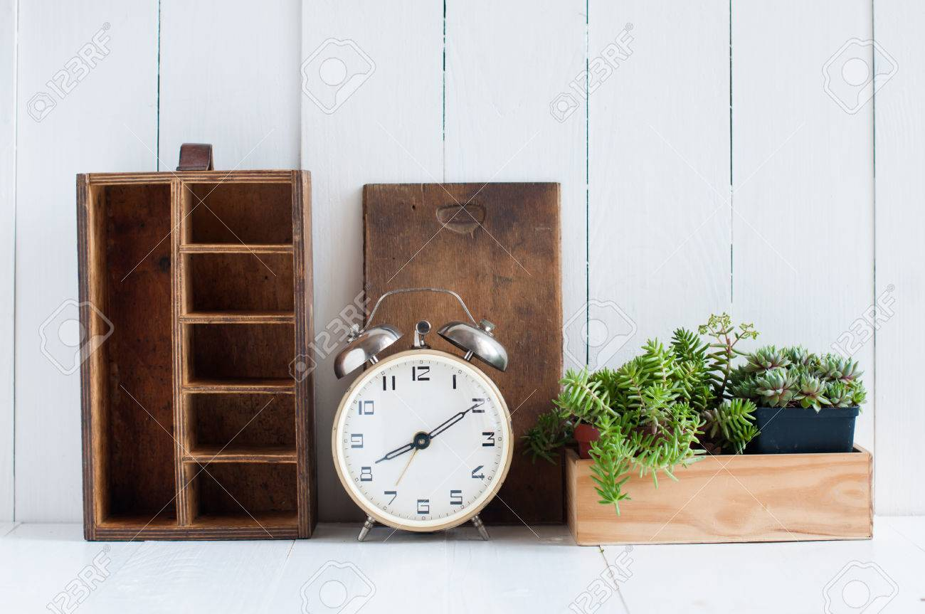 Vintage Home Decor Old Wooden Boxes Houseplants Alarm Clock Stock Photo Vintage Home Decor Old Wooden
