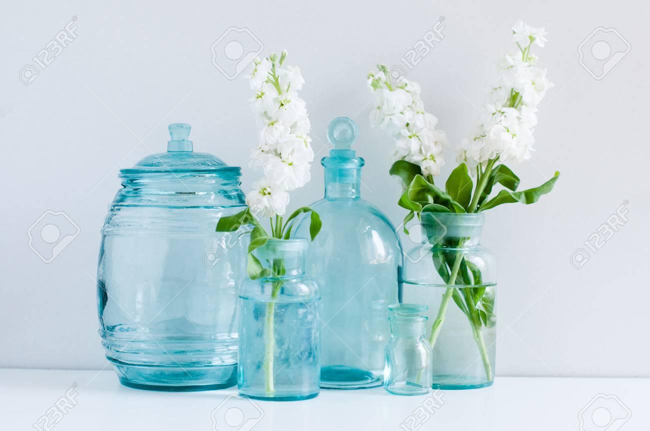 vintage home decor white matthiola flowers in different blue