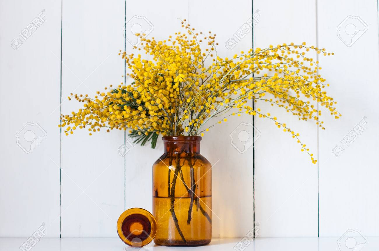 Home Decor, Mimosa Yellow Spring Flowers In A Vintage Bottle.. Stock ...