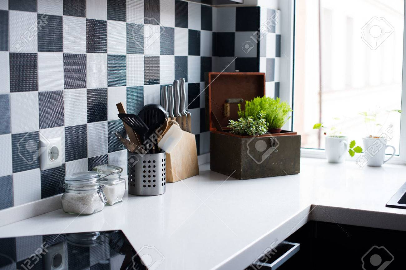 Kitchen Utensils, Decor And Kitchenware In The Modern Kitchen Interior  Close Up Stock Photo