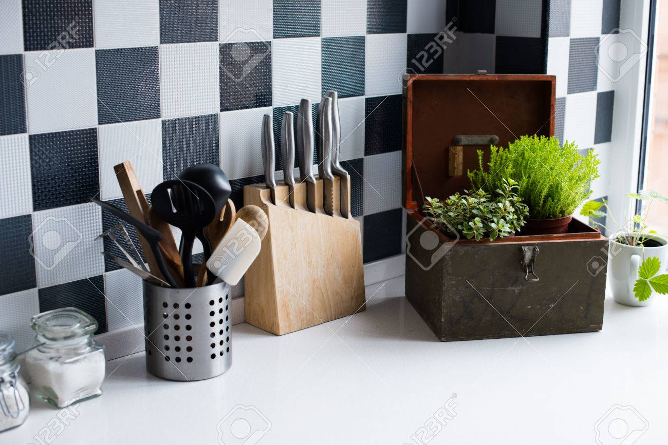 kitchen utensils decor and kitchenware in the modern kitchen  - kitchen utensils decor and kitchenware in the modern kitchen interiorcloseup stock photo