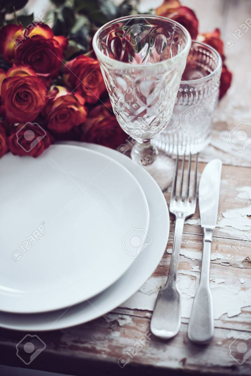 glasses table setting. Vintage Table Setting With Glasses And Cutlery On An Old Wooden Board, Wedding Decor L